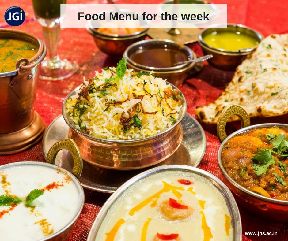 Jain Heritage School Bangalore Food Menu